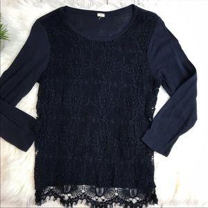 J Crew Black Lace Long Sleece Scoop Neck Blouse XS